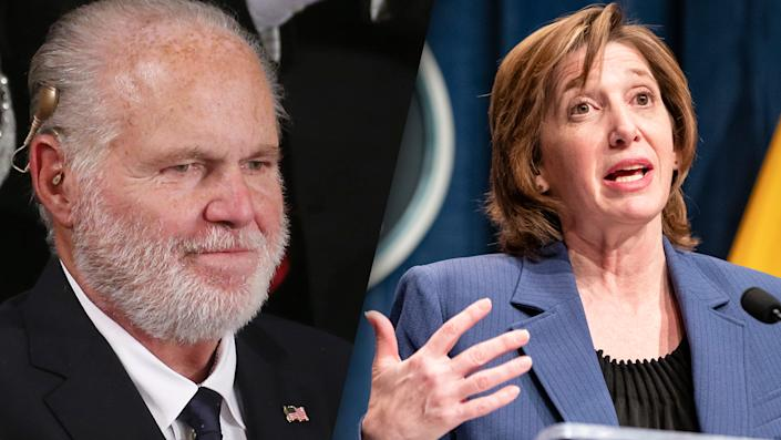 Rush Limbaugh and National Center for Immunization and Respiratory Diseases Director Nancy Messonnier. (Mario Tama/Getty Images, Samuel Corum/Getty Images)