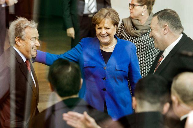 19 January 2020, Berlin: Federal Chancellor Angela Merkel (CDU) is standing between Antonio Guterres (l), Secretary-General of the United Nations and Mike Pompeo (r), Foreign Minister of the USA, before the start of the Libya Conference in the Federal Chancellery. The aim of the conference is a lasting ceasefire in the civil war country. Photo: Carsten Koall/dpa (Photo by Carsten Koall/picture alliance via Getty Images)