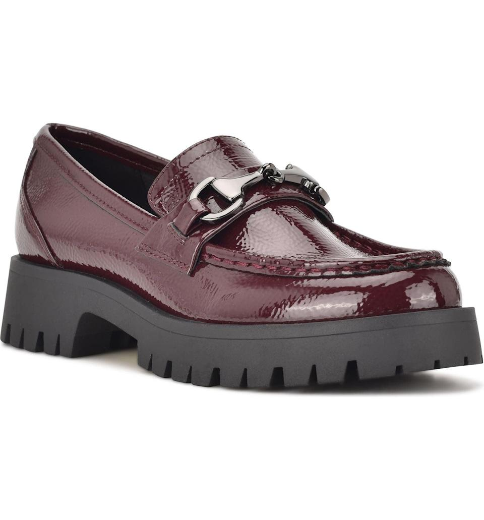 <p>The gleaming texture of this <span>Nine West Gonehme Bit Loafer</span> ($89) gives it some drama, while the color makes it classic and versatile. Wear it to add an edge to any outfit.</p>