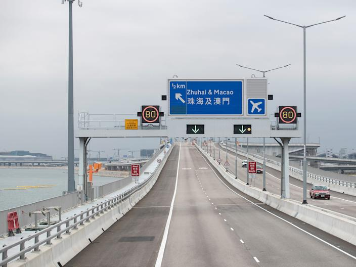 A road sign of Zhuhai, Macao on the way to Hong Kong.