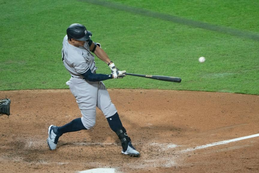 Giancarlo Stanton makes contact with a pitch