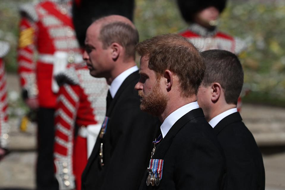 <p>Princes William and Harry walked behind the coffin with their cousin Peter Philips. (AFP via Getty Images)</p>