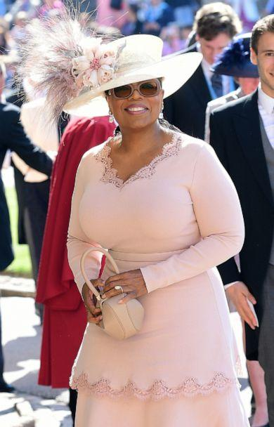 PHOTO: Oprah Winfrey arrives for the wedding ceremony of Prince Harry, Duke of Sussex and Meghan Markle at St George's Chapel, Windsor Castle, in Windsor, England, May 19, 2018. (Ian West/AFP/Getty Images)