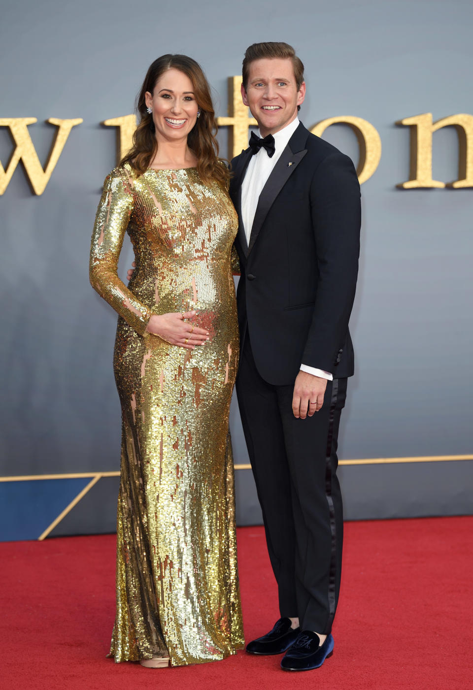 """Jessica Blair Herman and husband Allen Leech, who plays Tom Branson in the hit series, attend the """"Downton Abbey"""" World Premiere at Cineworld Leicester Square [Photo: Getty]"""