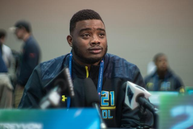Treyvon Hester, pictured at the NFL scouting combine in 2017, watched his pro football dream come true when the Raiders drafted him as a seventh-rounder. (Getty Images)
