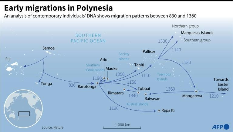 Map of Polynesia showing early eastward migration which began in the IX century (AFP/Cléa PÉCULIER)