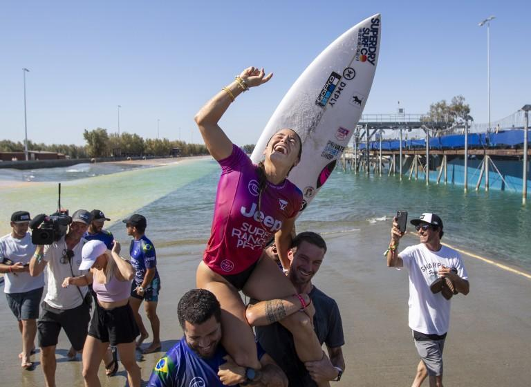 Johanne Defay of France gets a victory lift after she won the Jeep Surf Ranch Pro event June 20, 2021, in Lemoore, Calif.