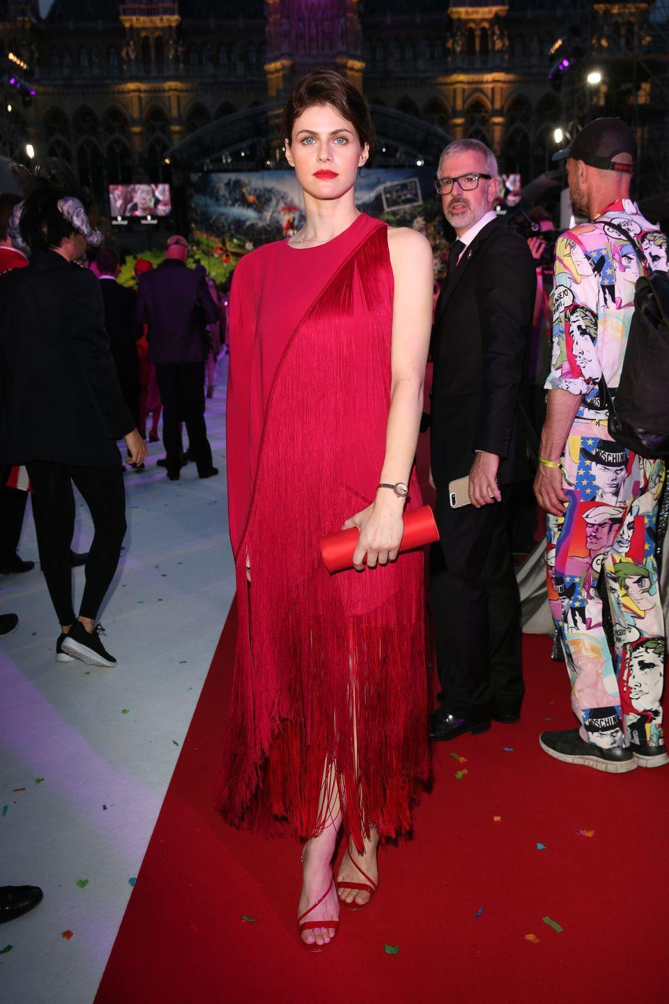<p>The atress wore Stella McCartney to The Life Ball in Vienna.</p>