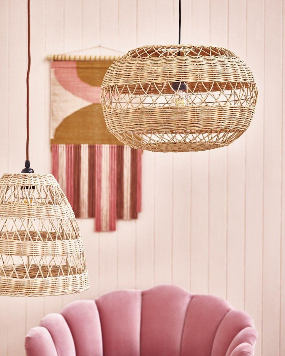 """<p>The woven design on this large rattan lampshade allows light to disperse easily, and casts interesting shadows on the walls. Perfect in darker spaces if you want to create a bright and airy atmosphere. </p><p><strong>Shop now: <a href=""""https://www.oliverbonas.com/homeware/cupula-white-rattan-pendant-lamp-shade-323778"""" rel=""""nofollow noopener"""" target=""""_blank"""" data-ylk=""""slk:Cupula Rattan Pendant Lamp Shade at Oliver Bonas"""" class=""""link rapid-noclick-resp"""">Cupula Rattan Pendant Lamp Shade at Oliver Bonas</a></strong></p>"""