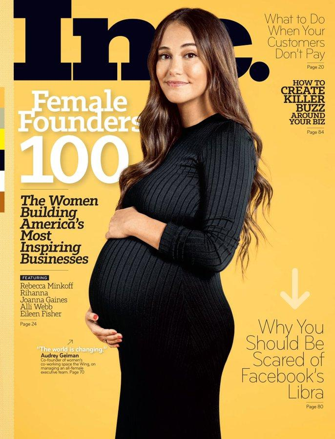 Audrey Gelman is the first 'visibly pregnant' CEO to feature on a business magazine cover. Source: Inc.