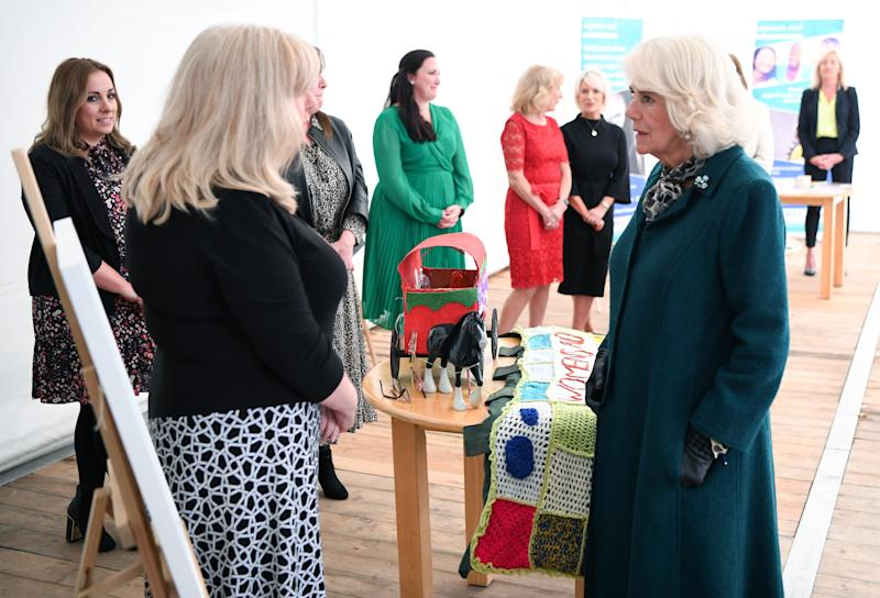 BELFAST, NORTHERN IRELAND - SEPTEMBER 30: Camilla, Duchess of Cornwall visits Belfast and Lisburn Women's Aid on September 30, 2020 in Belfast, United Kingdom. (Photo by Tim Rooke/Pool/Samir Hussein/WireImage)