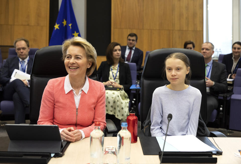 Swedish climate activist Greta Thunberg, right, and European Commission President Ursula von der Leyen, left, attend the weekly College of Commissioners meeting at EU headquarters in Brussels, Wednesday, March 4, 2020. European Commission President Ursula von der Leyen, who has put climate change at the top of her priorities and pledged to make Europe the first climate neutral continent by 2050, will present her plans on Wednesday. (AP Photo/Virginia Mayo)