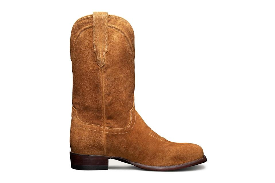 """Toss out your Chelseas and go for broke: Cowboy boots are the big swing your footwear rotation needs in 2021. The taller the heel, the closer to god.<br> <br> <em>Tecovas """"Dalton"""" boots</em> $255, Tecovas. <a href=""""https://www.tecovas.com/products/the-dalton?variant=32854577250413"""" rel=""""nofollow noopener"""" target=""""_blank"""" data-ylk=""""slk:Get it now!"""" class=""""link rapid-noclick-resp"""">Get it now!</a>"""