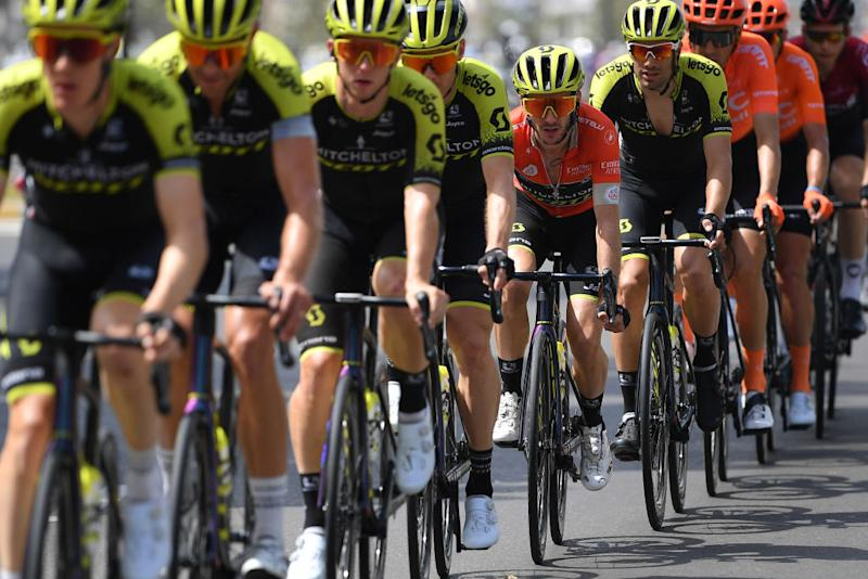 Adam Yates sits behind his Mitchelton-Scott teammates