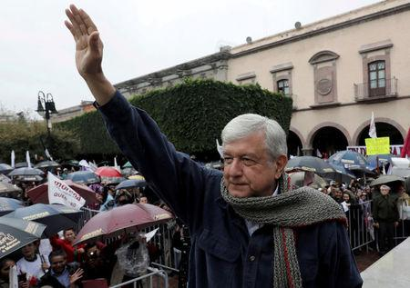 FILE PHOTO: Mexican presidential pre-candidate Andres Manuel Lopez Obrador of the National Regeneration Movement (MORENA) greets supporters, in Queretaro
