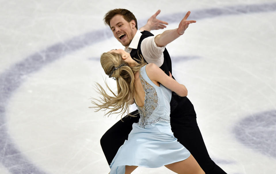 Russian ice dancers Victoria Sinitsina and Nikita Katsalapov perform during the Ice Dance - Rhythm Dance at the Figure Skating World Championships in Stockholm, Sweden, Friday, March 26, 2021. (AP Photo/Martin Meissner)