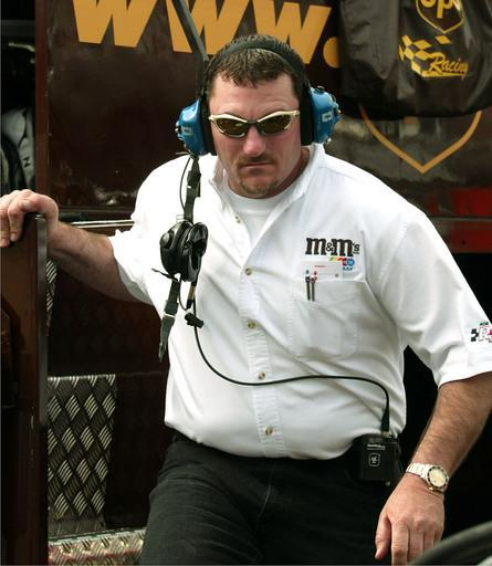 ** FOR USE WITH AUTO RACING PACKAGE ** Todd Parrott steps down from the pit box during the Food City 500 Sunday, March 23, 2003 at Bristol Motor Speedway in Bristol, Tenn. Parrott is now team manager at Robert Yates Racing, overseeing Dale Jarrett and Elliott Sadler's teams. (AP Photo/Terry Renna)