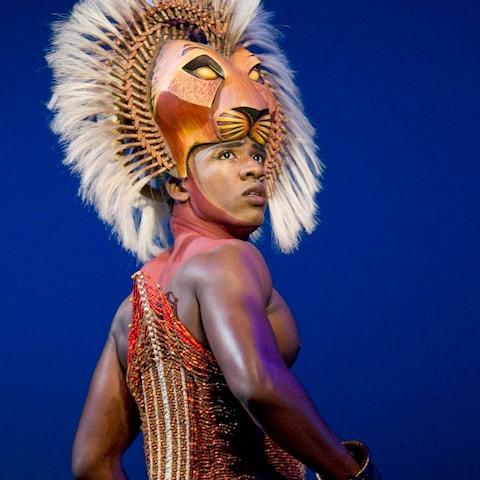 Simba in the stage production of the Lion King - Credit: Joan Marcus/AP