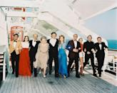 <p>The cast of the disaster movie, <em>The Poseidon Adventure,</em> on the deck of a liner in 1972.</p>