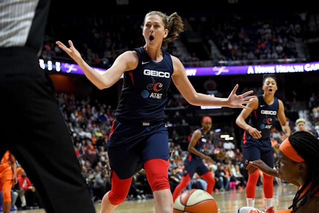 "<a class=""link rapid-noclick-resp"" href=""/wnba/teams/was"" data-ylk=""slk:Washington Mystics"">Washington Mystics</a> center <a class=""link rapid-noclick-resp"" href=""/wnba/players/5182/"" data-ylk=""slk:Emma Meesseman"">Emma Meesseman</a> shared that the pohto of her mom on ESPN ... was not her mother. (Photo by Katherine Frey/The Washington Post via Getty Images)"