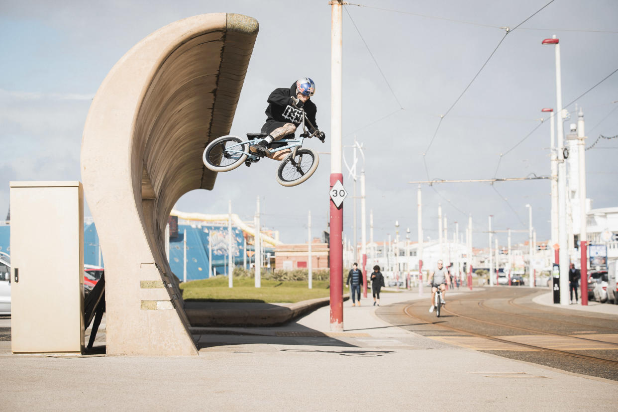 Kriss Kyle performs a stunt in Blackpool (Dave Mackison/PA)