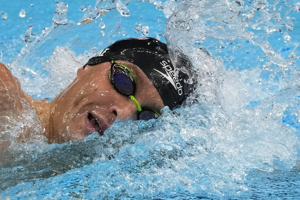 Robert Finke, of United States, swims in the men's 1500-meter freestyle final at the 2020 Summer Olympics, Sunday, Aug. 1, 2021, in Tokyo, Japan. (AP Photo/Jae C. Hong)