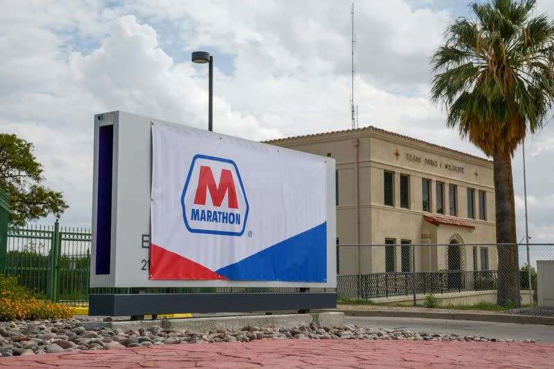 A Marathon Petroleum banner covers an Andeavor sign outside the El Paso refinery in El Paso