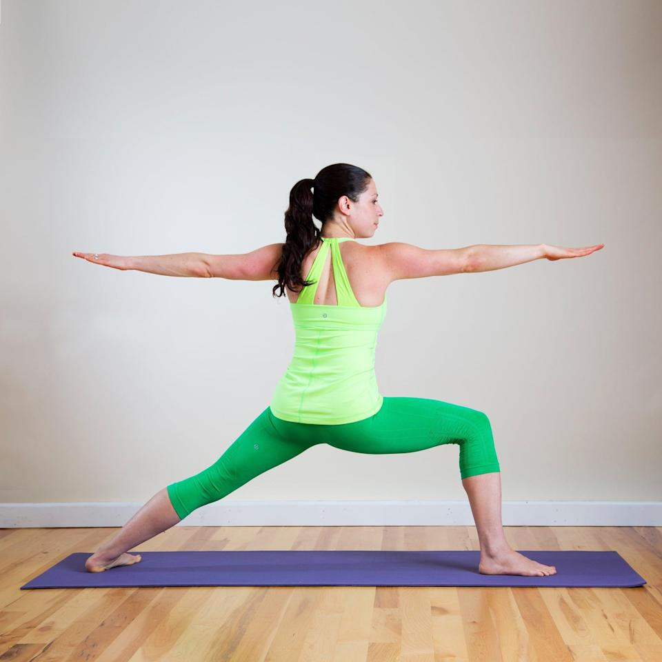 "<p><strong>Sanskrit Name:</strong> Virabhadrasana 2 </p> <p><strong>English Translation:</strong> Warrior 2 Pose </p> <ul> <li>Begin on your hands and feet in Downward Facing Dog. Step your right foot forward between your palms and come into Warrior 1.</li> <li>Extend your arms out in T-position as you rotate your torso to the left, coming into Warrior 2. Ideally your front thigh should be parallel to the ground and your right knee directly over your right ankle. Make sure your shoulders are stacked directly above your pelvis.</li> <li>Gaze past your right fingertips, holding for five breaths. Then return to Downward Facing Dog. Step your left foot forward and do this pose on the other side.</li> </ul> <p>Here are more <a href=""https://www.popsugar.com/fitness/Strike-Yoga-Pose-Warrior-2-2671068"" class=""link rapid-noclick-resp"" rel=""nofollow noopener"" target=""_blank"" data-ylk=""slk:tips on how to do Warrior 2"">tips on how to do Warrior 2</a>. </p>"
