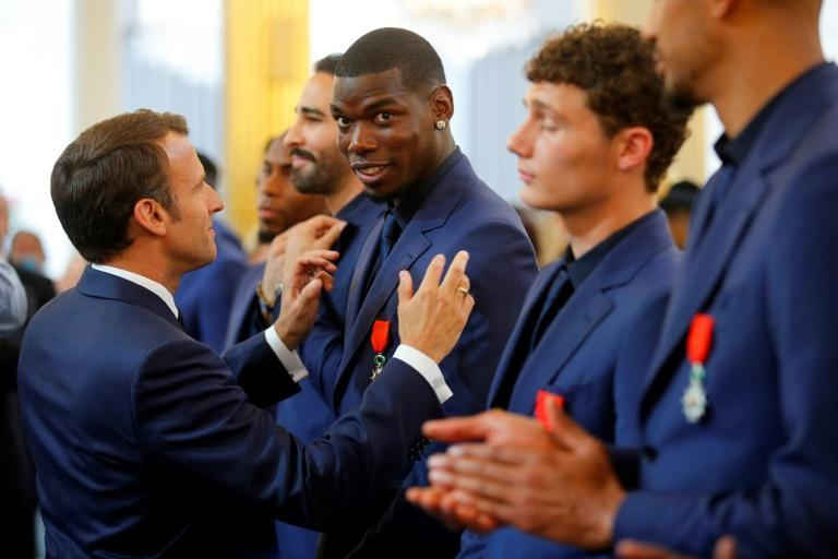 French president Emmanuel Macron presented Paul Pogba with the Legion of Honour order of merit in 2019