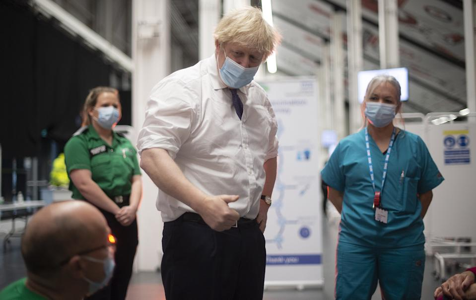 Prime Minister Boris Johnson, with Head Nurse Anne Morris, at Ashton Gate Stadium in Bristol, during a visit to one of the seven mass vaccination centres now opened to the general public as the government continues to ramp up the vaccination programme against Covid-19.