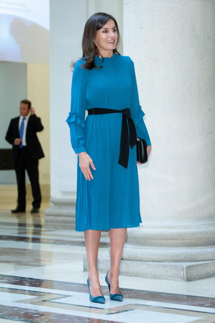Queen Letizia also flew the Spanish sartorial flag in a Zara jumpsuit back in May 2019 [Photo: Getty]