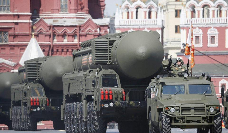 A Russian strategic ballistic missile launch vehicle on parade in Moscow. Photo: EPA