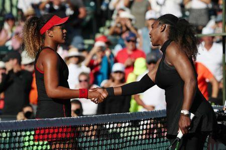 Mar 21, 2018; Key Biscayne, FL, USA; Naomi Osaka of Japan (L) shakes hands with Serena Williams of the United States (R) after their match on day two of the Miami Open at Tennis Center at Crandon Park. Osaka won 6-3, 6-2. Mandatory Credit: Geoff Burke-USA TODAY Sports