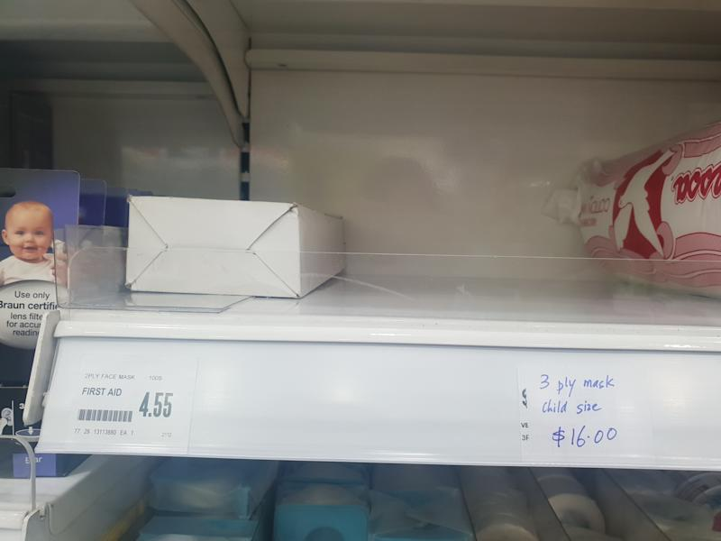 Only a single box of two-ply disposable face masks remains at Unity. (Photo:Wan Ting Koh/Yahoo News Singapore)