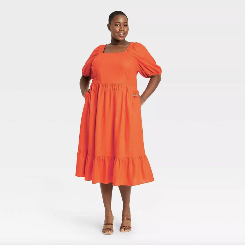 <p>This <span>Who What Wear Puff Elbow Sleeve Open Back Dress</span> ($34, originally $40) guarantees light and airy movement with every step.</p>