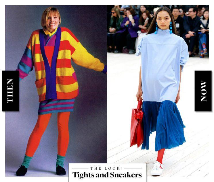 Tights and Sneakers as seen on an Esprit model in the '80s, and at Céline today. (Photo: Getty Images)