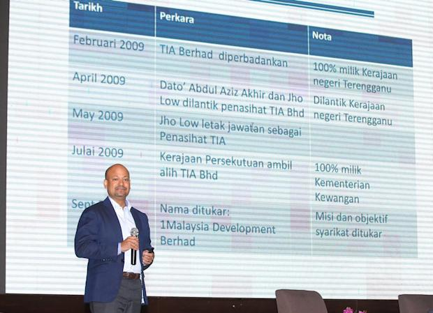 1Malaysia Development Berhad's (1MDB) president and group executive director Arul Kanda Kandasamy explaining the fund's assets and loans during a forum in Ipoh March 18, 2018. — Picture by Pheong Kar Yu