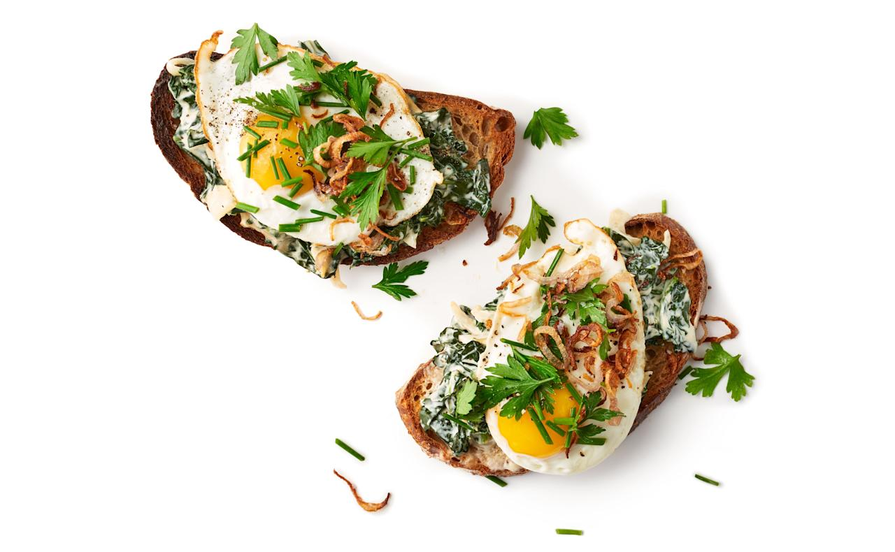 """Those creamed greens (or even a casserole) can live on as a toast topper. <a href=""""https://www.bonappetit.com/recipe/creamed-greens-tartine?mbid=synd_yahoo_rss"""">See recipe.</a>"""