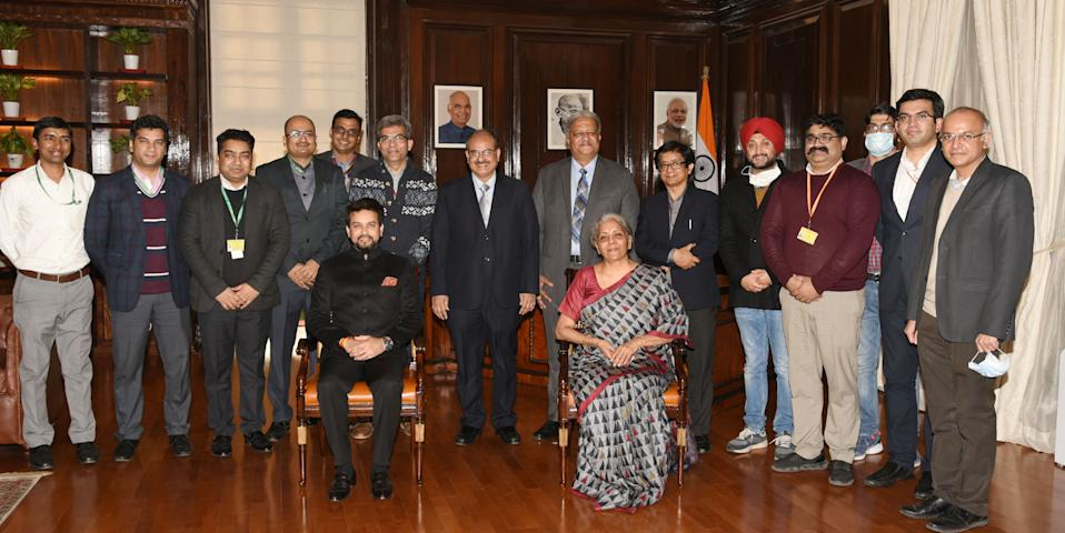 The Union Minister for Finance and Corporate Affairs, Smt. Nirmala Sitharaman with the team working on Union Budget 2021-22, at North Block, in New Delhi on January 31, 2021. The Minister of State for Finance and Corporate Affairs, Shri Anurag Singh Thakur and other dignitaries are also seen.