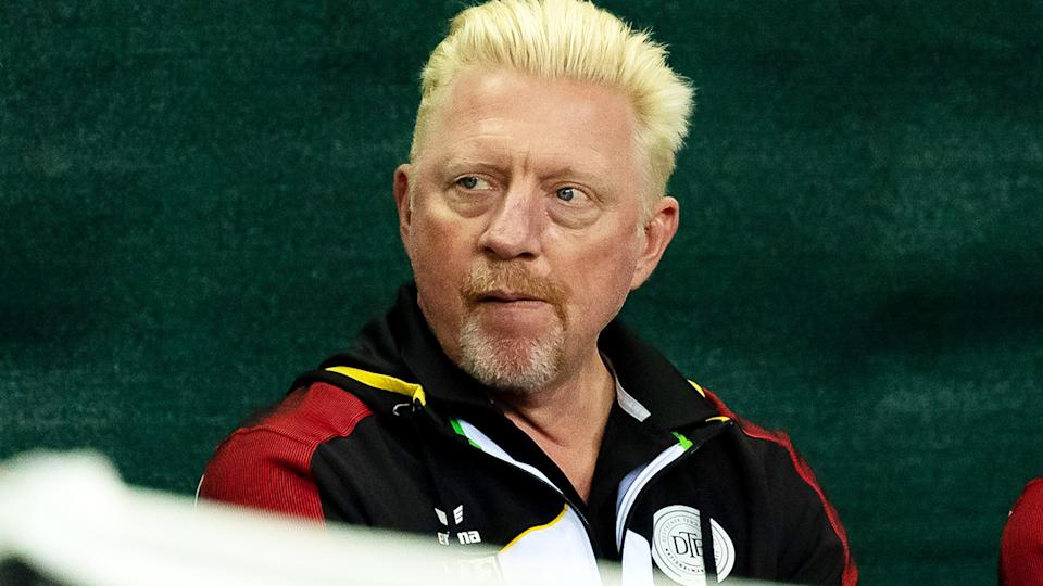 Boris Becker, pictured here during the Davis Cup qualifier between Germany and Belarus.