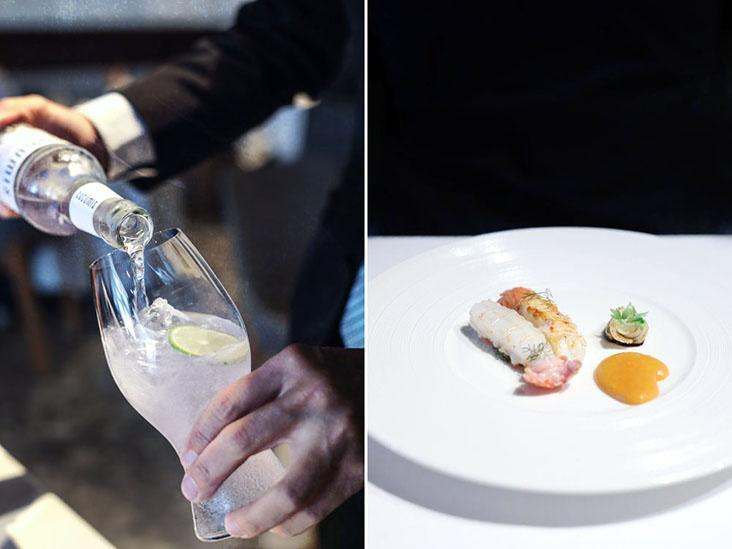 Practised pouring (left). Langoustine from Pengjia Islet north of Taiwan (right).
