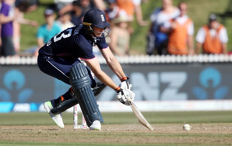 England's Jos Buttler belted 79 off 65 before he was run out off the penultimate ball during the first ODI against New Zealand