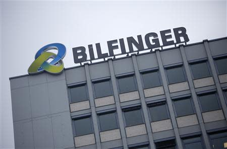The logo of German industrial services provider Bilfinger is pictured on top of their headquarters in Mannheim in this January 21, 2013 file photo. REUTERS/Lisi Niesner/Files