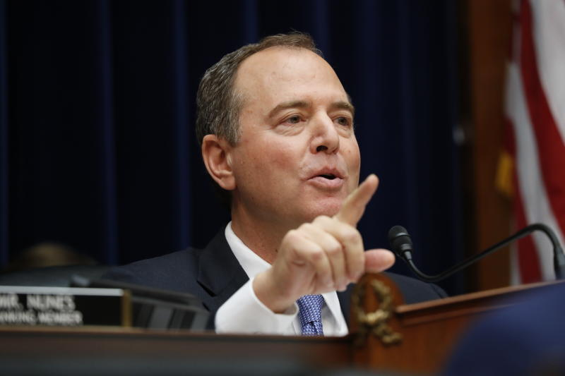 House Intelligence Committee Chairman Rep. Adam Schiff, D-Calif., questions Acting Director of National Intelligence Joseph Maguire,as he testifies before the House Intelligence Committee on Capitol Hill in Washington, Thursday, Sept. 26, 2019. (AP Photo/Pablo Martinez Monsivais)
