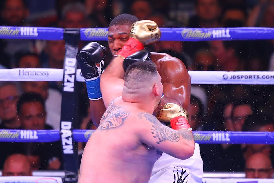 NEW YORK, NY - JUNE 01: Andy Ruiz Jr of California hits Anthony Joshua of England during the second round of the World Heavyweight Championship fight on June 1, 2019 at Madison Square Garden in New York, NY.  (Photo by Rich Graessle/Icon Sportswire via Getty Images)