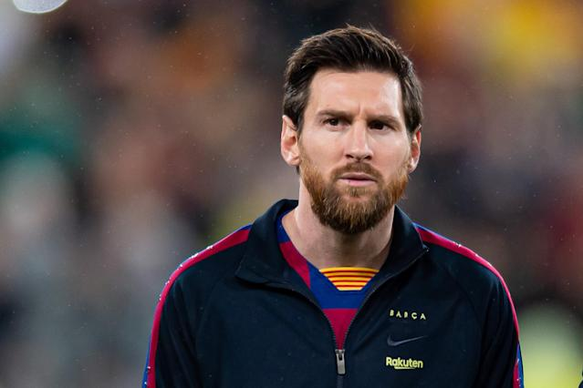Lionel Messi and his Barcelona teammates are taking pay cuts amid the coronavirus suspension, which raises some unsettling questions about the club they play for. (Photo by Alejandro Rios/DeFodi Images via Getty Images)