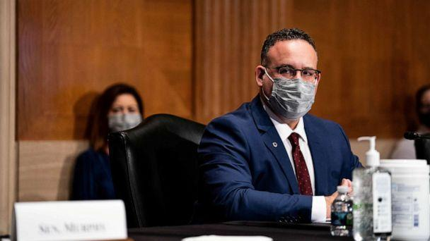 PHOTO: Education Secretary nominee Miguel Cardona testifies before the Senate Health, Education, Labor and Pensions committee during his confirmation hearing on Capitol Hill in Washington, DC, Feb. 3, 2021. (Anna Moneymaker/Reuters, FILE)