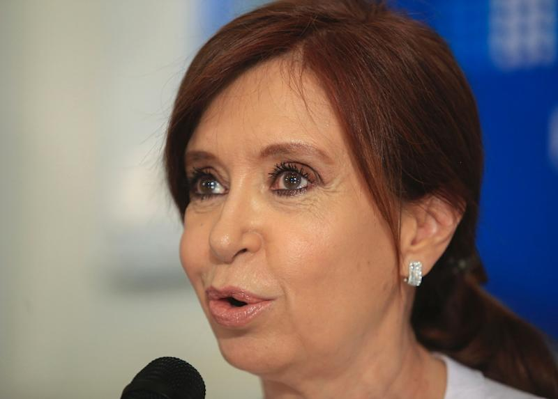 """Argentina's former president Cristina Kirchner, shown here addressing reporters on Thursday, is accused of """"an orchestrated criminal plan"""" to cover up the alleged involvement of Iranian officials in the 1994 bombing of a Jewish center"""
