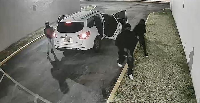 Image: Surveillance of three people prior to shooting in Miami (Via MDPD)