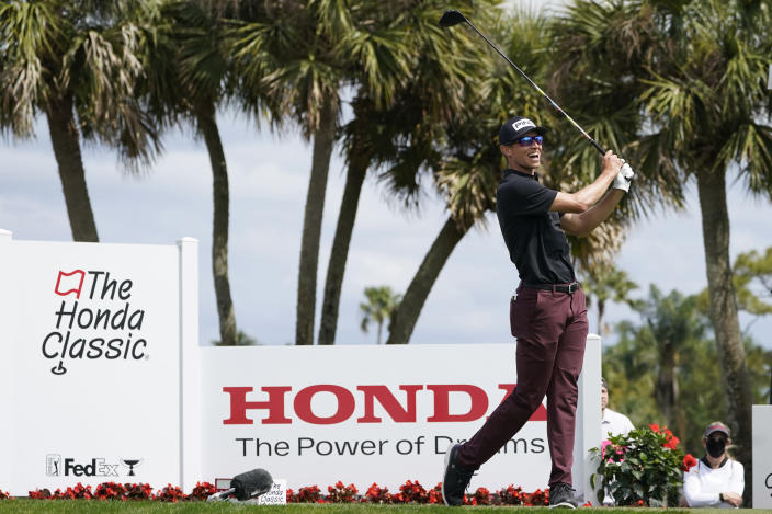 Brandon Hagy hits from the fourth tee during the third round of the Honda Classic golf tournament, Saturday, March 20, 2021, in Palm Beach Gardens, Fla. (AP Photo/Marta Lavandier)